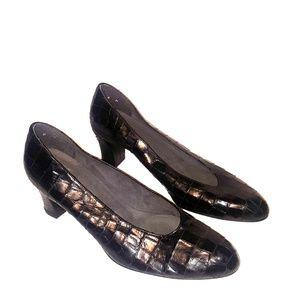 Stuart Weitzman black croc embossed leather heels